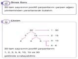 Pozitif Tam Sayıların Çarpanları 8. Sınıf