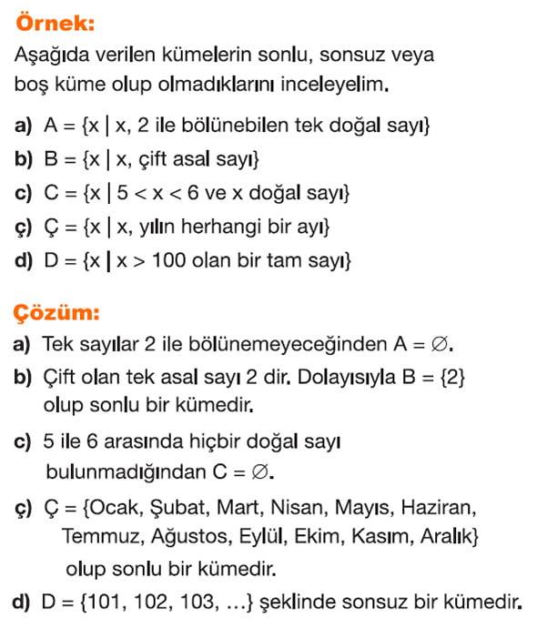 Sonlu küme, sonsuz küme, boş küme örnek soru çözümü 2