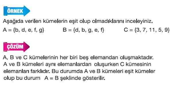 Eşit kümeler örnek 1