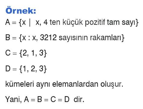 Eşit kümeler örnek 2