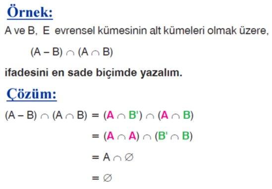 Kümelerde fark işleminin özellikleri örnek soru 1