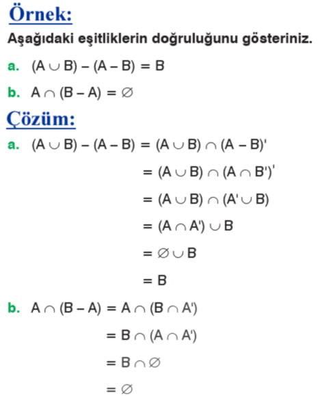 Kümelerde fark işleminin özellikleri örnek soru 2