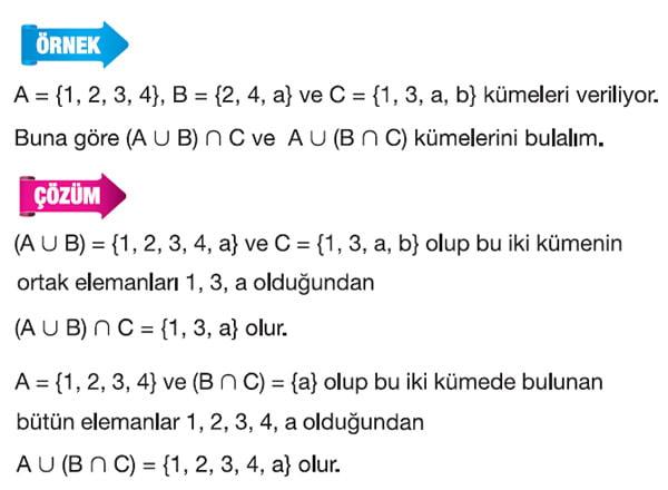 Kümelerde Kesişim ve birleşim işlemi örnek 1
