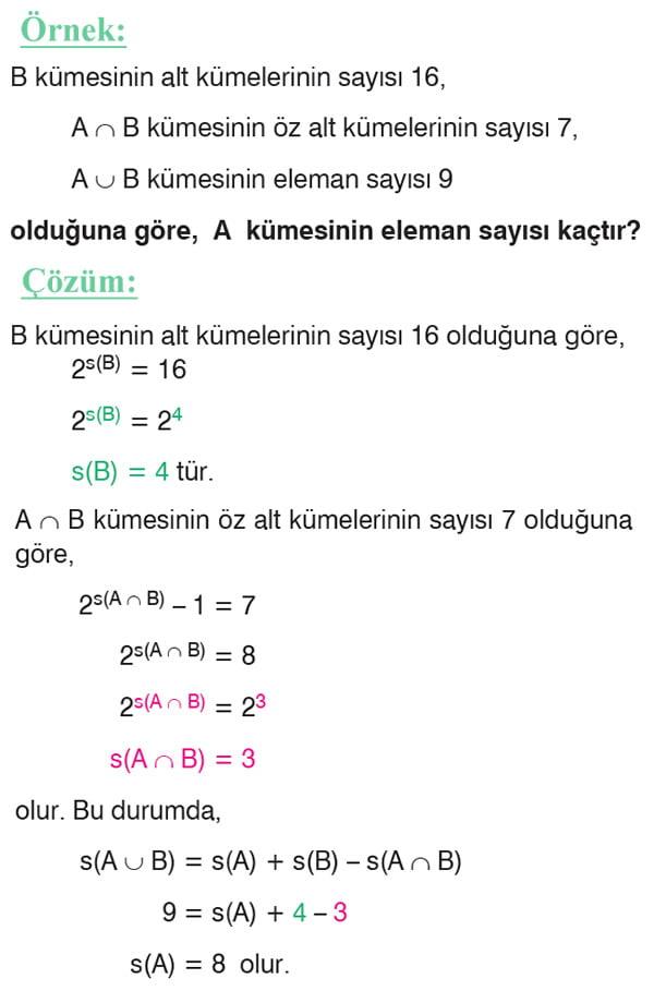 Küme problemleri örnek soru 2
