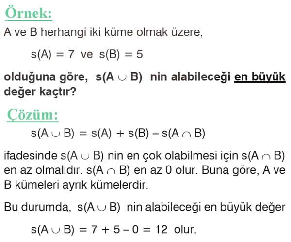 Küme problemleri örnek soru 3