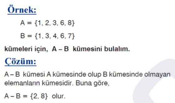 Kümelerde fark işlemi örnek soru 1