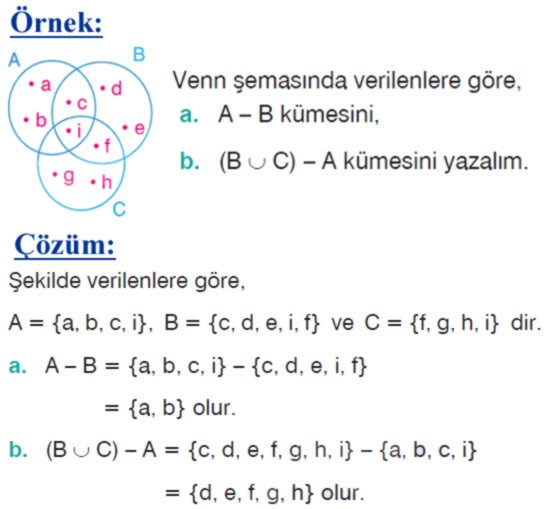 Kümelerde fark işlemi örnek soru 2