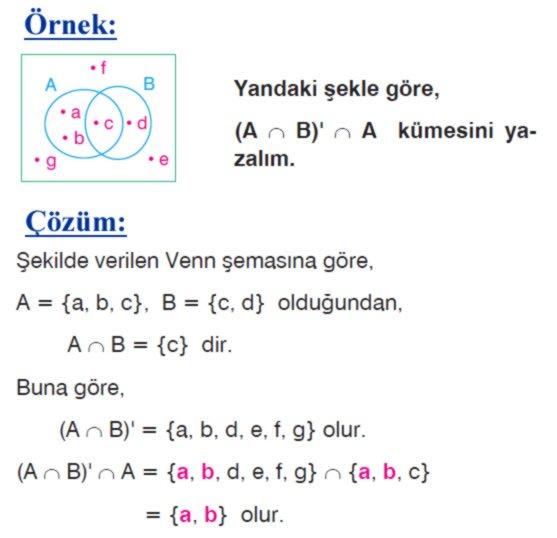 Kümelerde tümleme işleminin özellikleri örnek soru 1