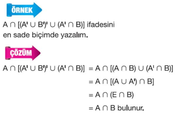 Kümelerde tümleme işleminin özellikleri örnek soru 3